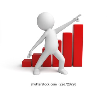 3d small person with a chart. 3d image. Isolated white background