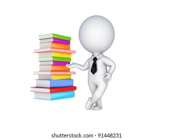 3d small person and colorful books.Isolated on white background.