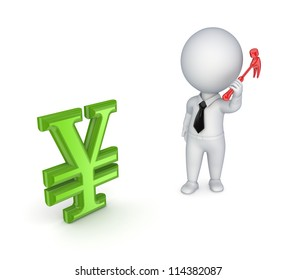 3d small person with a hammer in a hand and yen symbol.Isolated on white background.