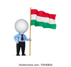 3d small person with a Hungarian flag in a hand.Isolated on white background.