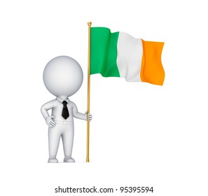 3d small person with an Irish flag in a hand.Isolated on white background.