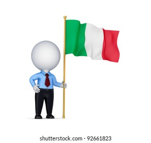 3d small person with an Italian flag in a hand.Isolated on white background.