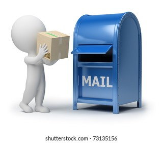 3d small person mailing a package. 3d image. Isolated white background.