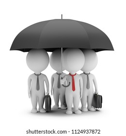 3d small person - manager with an umbrella and his team. 3d image. White background.