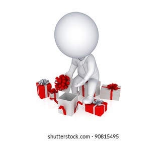 3d small person opening the gift box.Isolated on white background.3d rendered.