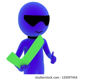 3d small person with positive symbol