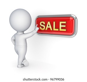 3d small person pushing SALE button.Isolated on white background.