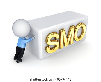 3d small person pushing a word SMO.Isolated on white background.