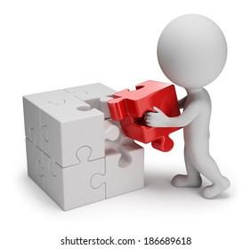 3d small person putting on a red puzzle in cell. 3d image. White background.