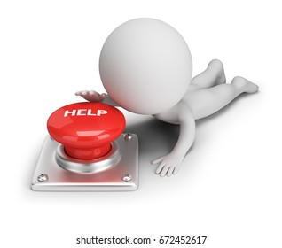 3d small person reaches for help button. 3d image. White background.