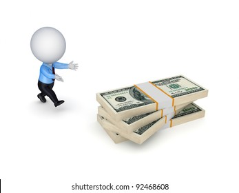 3d small person running to a dollars.Isolated on white background.