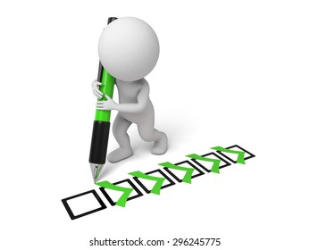 3d small person with some check mark and a pencil. 3d image. Isolated white background