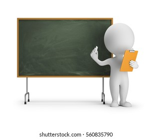 3d small person standing next to the blackboard with chalk and a clipboard in his hands. 3d image. White background.