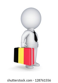 3d small person with suitcase with flag of Belgium.