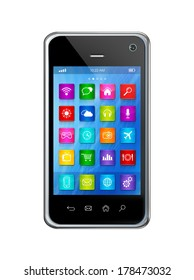 3D smartphone, mobile phone - apps icons interface - isolated on white with clipping path