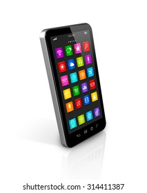 3D smartphone, mobile phone with apps icons interface - isolated on white with clipping path
