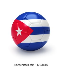3D soccer ball with Cuban flag, world football cup 2010. Isolated on white