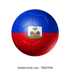 3D soccer ball with Haiti team flag. isolated on white with clipping path