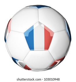 3D soccer ball with national flag. Country France