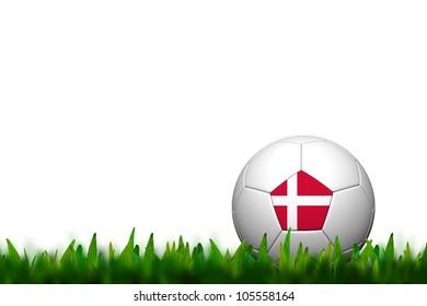 3D Soccer balll Denmark Flag Patter on green grass over white background