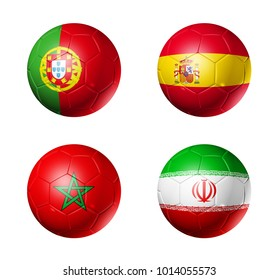 3D soccer balls with group B flags,  isolated on white
