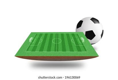 3D soccer stadium on isolated