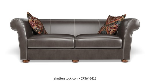 3D. Sofa, Furniture, Black.