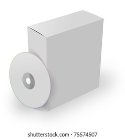 3d software box with dvd, isolated on a white background