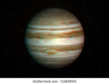 3D solar system series: Jupiter with stars in the background. View anaglyph with red/cyan glasses. Elements of this image furnished by NASA.