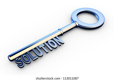 3d solutions key - key with Solutions text as symbol for success in business. Conceptual image