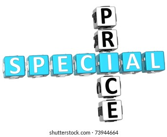 3D Special Price Crossword on white background