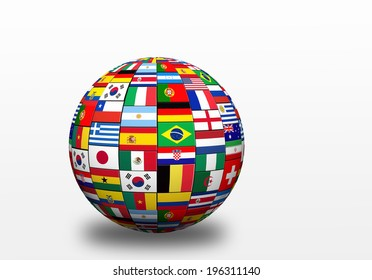 3D sphere  with drop shadow and flags