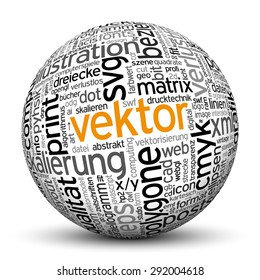"3D Sphere on White Background with Word Cloud Texture Imprint. This Ball with Tag Cloud Text are in German and English Language. Main Keyword is ""Vektor""."