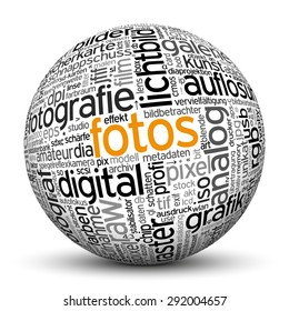 "3D Sphere on White Background with Word Cloud Texture Imprint. This Ball with Tag Cloud Text are in German and English Language. Main Keyword is ""Fotos""."