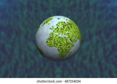 3D sphere of world map on blue background.
