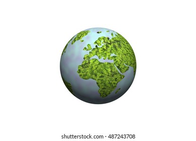 3D sphere of world on white background.