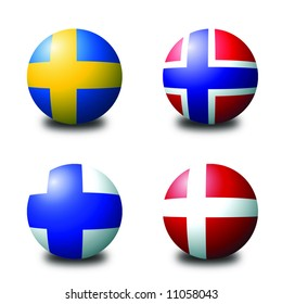 3D spherical flags representing scandinavian countries