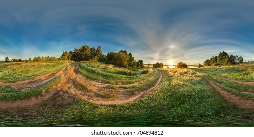 3D spherical panorama with 360 viewing angle. Ready for virtual reality or VR. Full equirectangular projection. Sunrise in the field. Roads in the field.