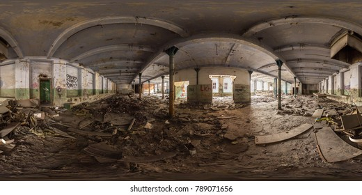 3D spherical panorama with 360 viewing angle.  Ready for virtual reality or VR. Full equirectangular projection. ghost town. Interior of abandoned industrial building. architecture of the city