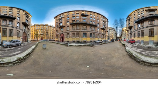 3D spherical panorama with 360 viewing angle. Ready for virtual reality or VR. Full equirectangular projection. View on a typical yard in the old district of the city. St. Petersburg