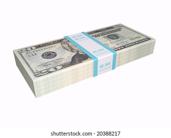 3D stacked cash on a white background