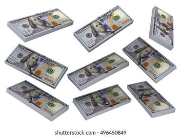 3D Stacks of Hundred US Dollars