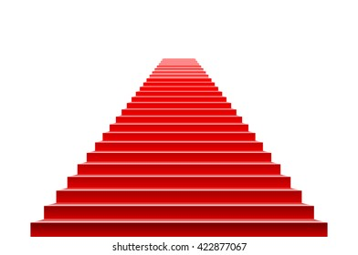 3d Stairs covered with red carpet. Scene illuminated by a spotlight art