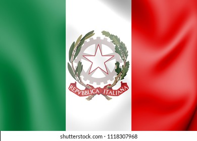 3D State Ensign of Italy. 3D Illustration.