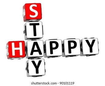 3D Stay Happy Crossword on white background
