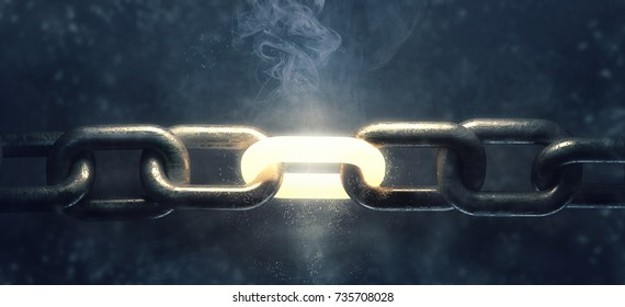 3d steel chain and a strong link. High resolution render