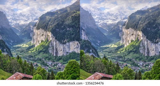 3D stereoscopic view of Lauterbrunnen Valley in Switzerland. Use this 3D stereoscopic pair to make the 3D format of your choice. Reverse left and right for cross eyed viewing.