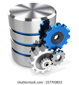 3d storage database symbol and gears on white background