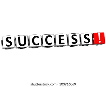 3D Success Button on white background