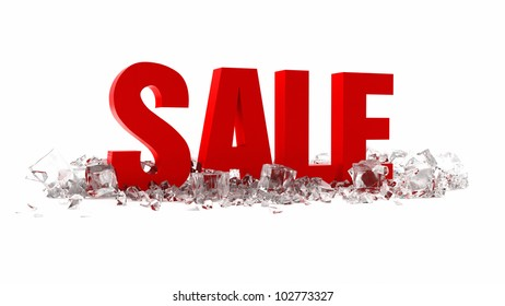 3d summer sale with ice cubes on white background